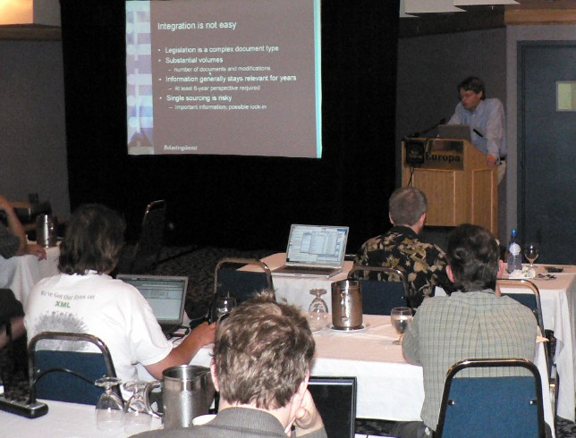 Matthijs Breebaartis talks at Extreme 2005 (also seen, Eric van der Vlist, G. Ken Holman, and Elliotte's PowerBook)