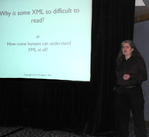 Ann M Wrightson talking at Extreme Markup Languages 2005